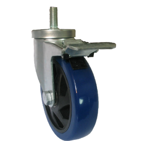 Blue medium duty threaded stem caster with total brake